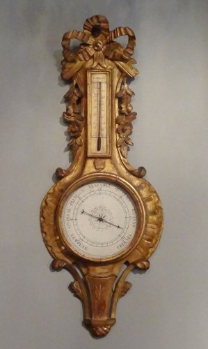 Barometer thermometer Louis XV gilded wood 18th century - Louis XVI