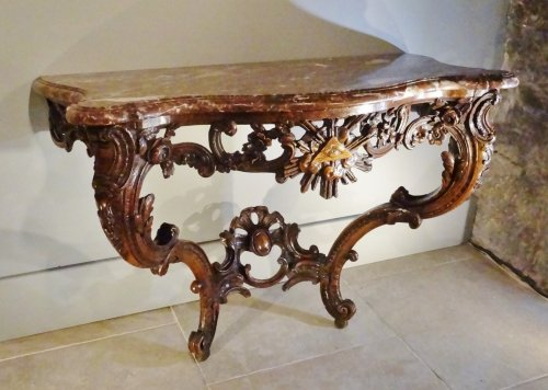 Console Louis XV With Freemason Attributes 18th century - Furniture Style Louis XV