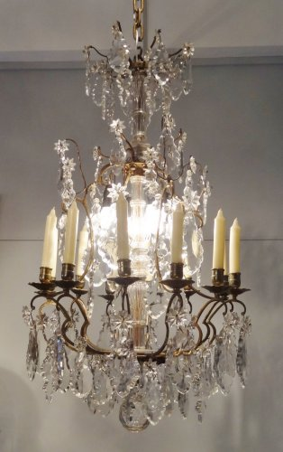 Chandelier in bronze and crystal 19th century - Lighting Style Louis-Philippe