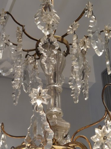 Chandelier in bronze and crystal 19th century - Louis-Philippe