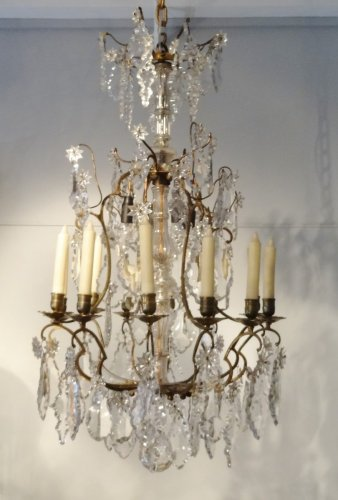 Antiquités - Chandelier in bronze and crystal 19th century