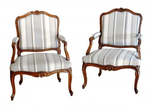 Pair of armchairs Louis XV stamped  P. MEUNIER 18th century