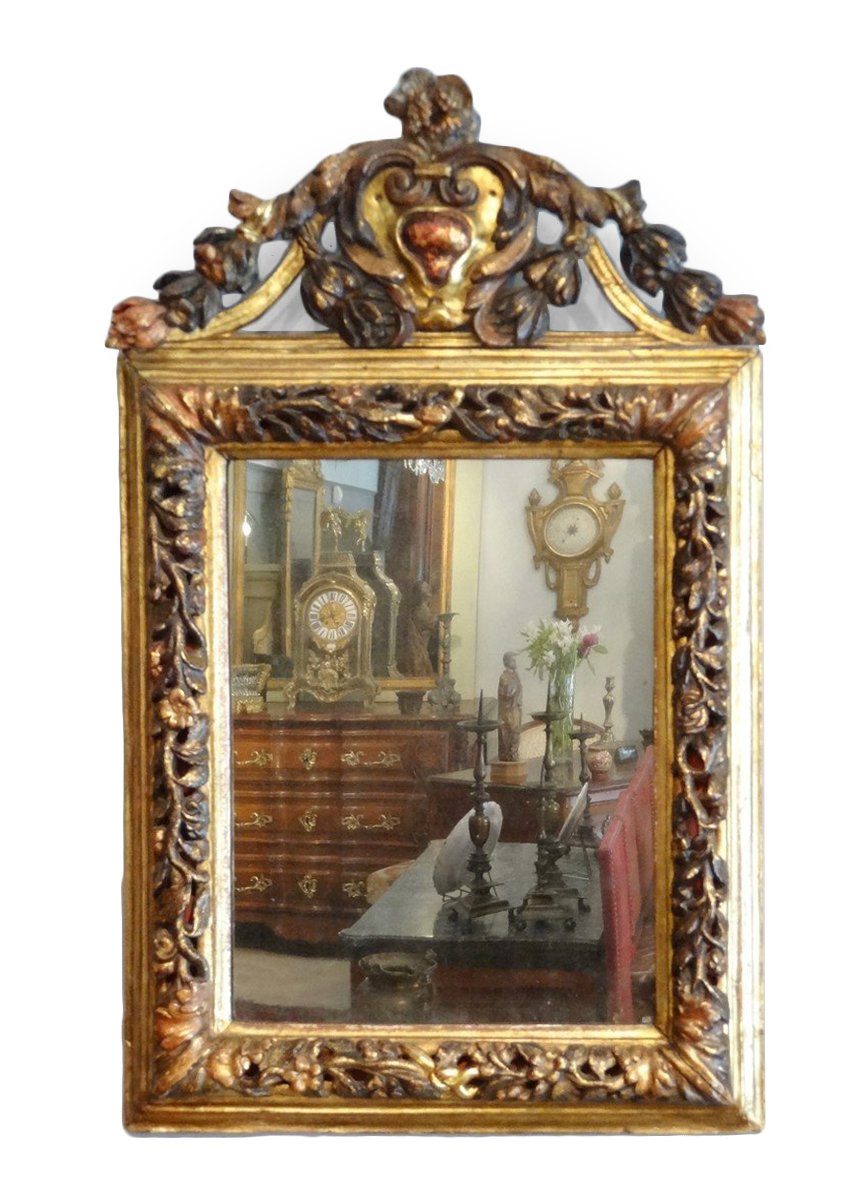 Louis XIV Mirror In Golden Wood And Polychrome 17th Century