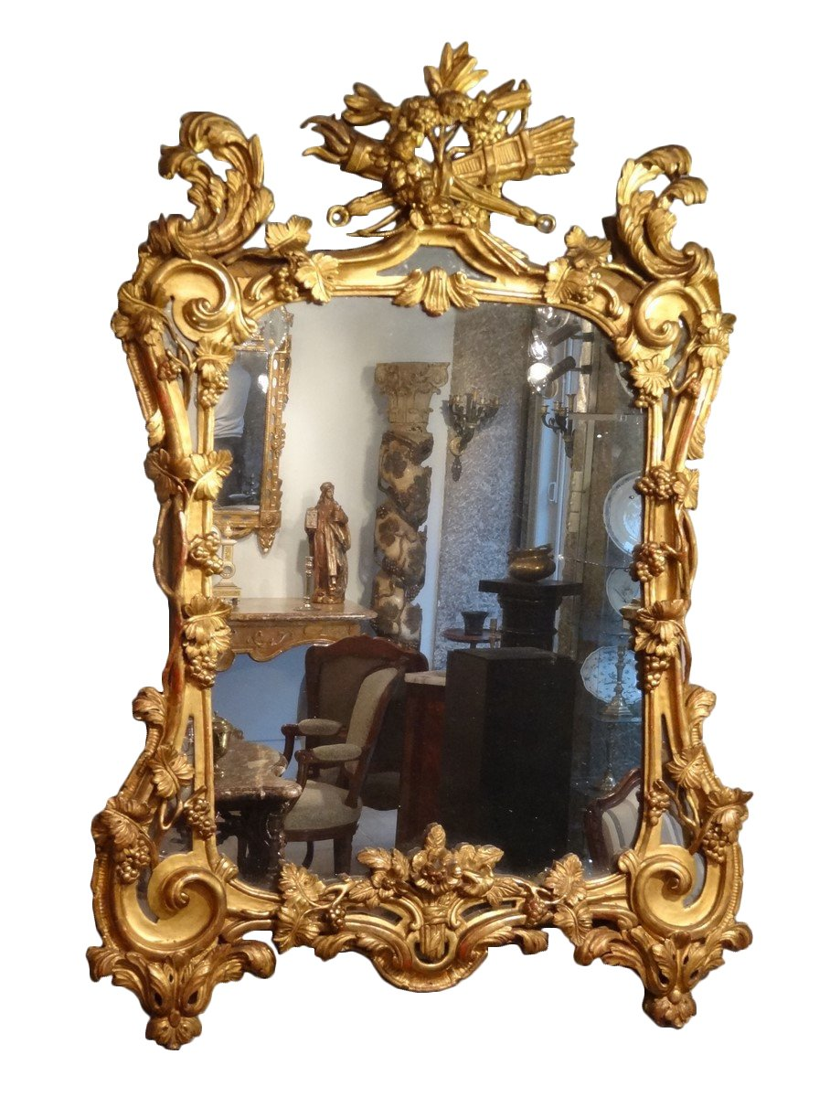 Louis Xv Mirror In Gilded Wood Quot With The Attributes Of