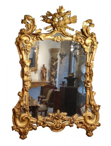 "Louis XV Mirror In Gilded Wood ""with The Attributes Of Love"" 18th Century"