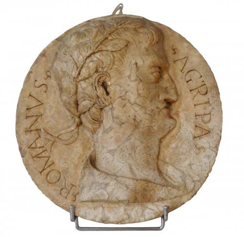 "Marble Medallion ""agrippa"" 18th Century"