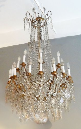 Large bronze and crystal chandelier 19th century