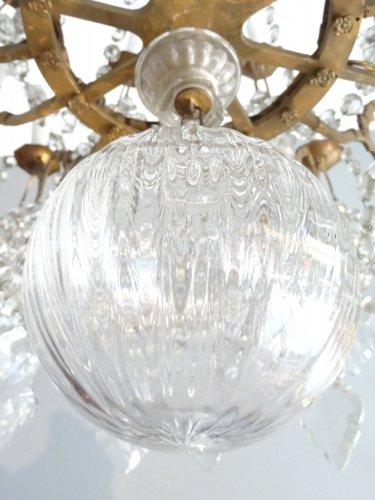 Large bronze and crystal chandelier 19th century -