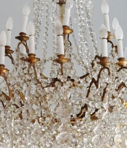 Large bronze and crystal chandelier 19th century - Napoléon III