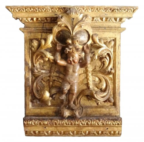 Gilt and carved wooden panel 17th century