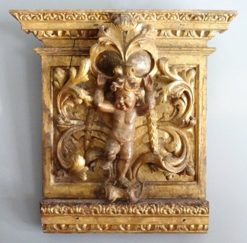 Gilt and carved wooden panel 17th century - Louis XIV