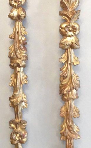 Antiquités - Pair of gilded wooden falls 17th century