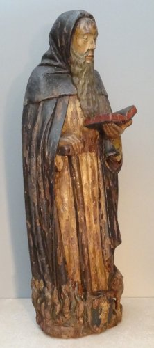 Saint Anthony Carved Wood, Late 16th Century - Sculpture Style Renaissance