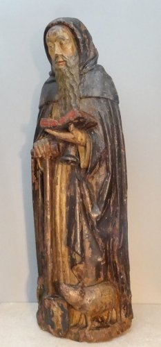 Sculpture  - Saint Anthony Carved Wood, Late 16th Century