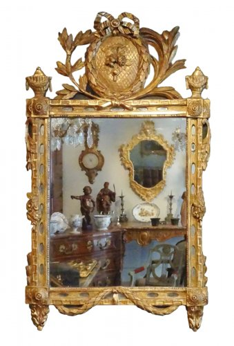 Mirror Louis Xvi With Parceloses In Gilded Wood 18th