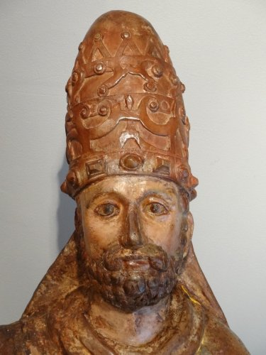 Saint Pierre in majesty late 14th century early 15th century - Sculpture Style Middle age