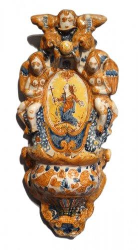 Italian polychrome faience holy font 17th century