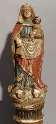 Sculpture  - Virgin and Child in Polychrome Alabaster 17th century