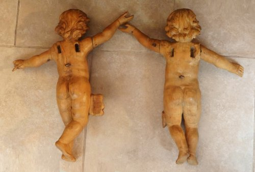 Louis XV - Pair of wooden angels carved 18th century
