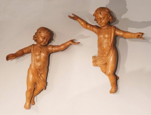 Antiquités - Pair of wooden angels carved 18th century