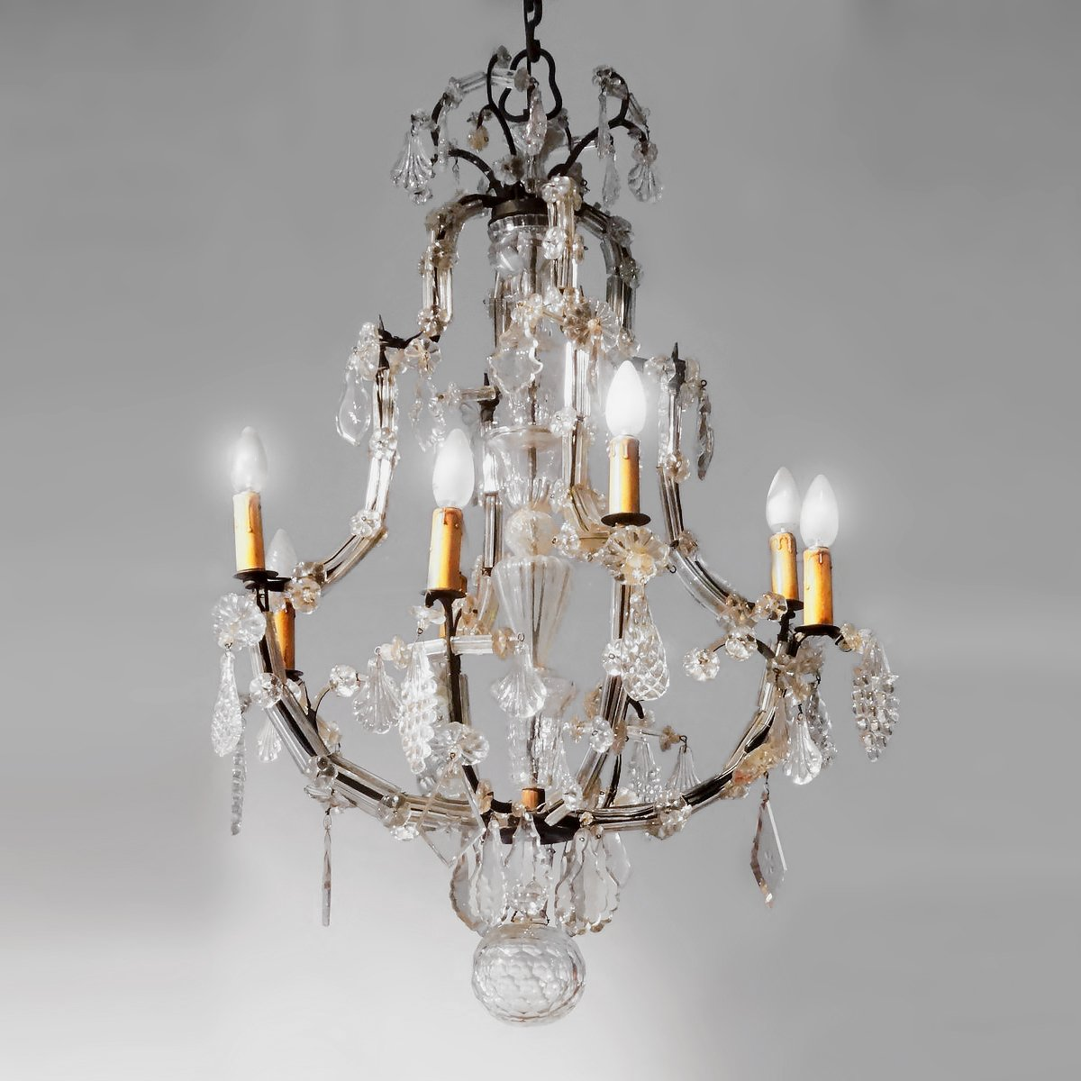 Crystal Chandelier And Wrought Iron From The Late 18th Century
