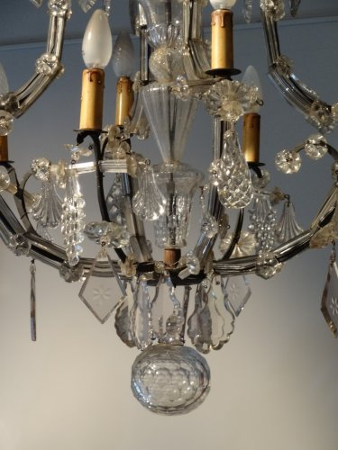 Crystal Chandelier And Wrought Iron From the Late 18th Century - Lighting Style Louis XVI