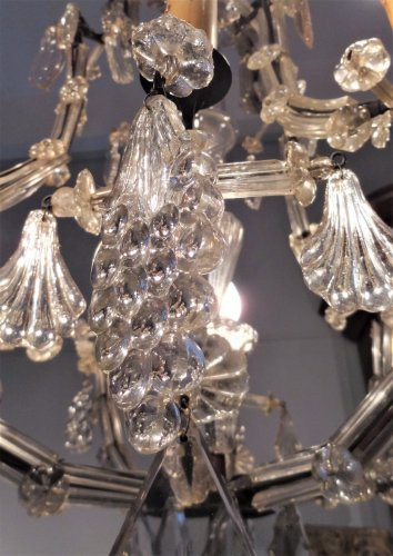Crystal Chandelier And Wrought Iron From the Late 18th Century -