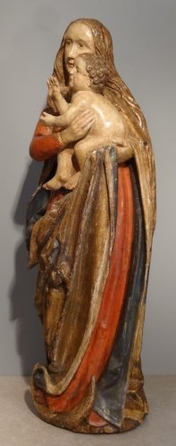 Madonna And Child carved wood around 1500-1520 - Sculpture Style Renaissance