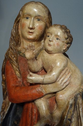 16th century - Madonna And Child carved wood around 1500-1520