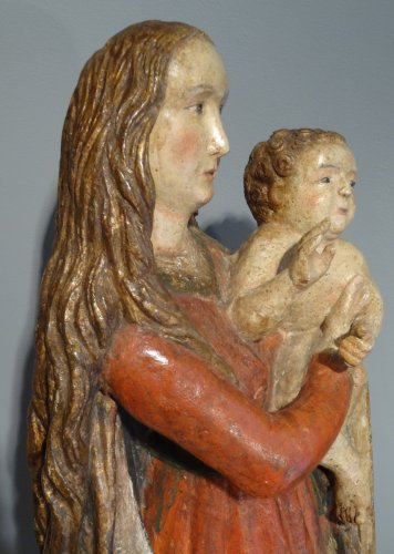 Antiquités - Madonna And Child carved wood around 1500-1520