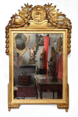 "Franch Giltwood Mirror with ""Revolutionary attributes"" late 18th century"