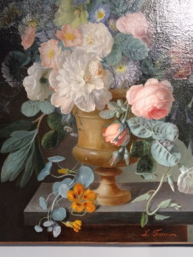 Bouquet of flowers - L.Fournier, 19th century - Paintings & Drawings Style Restauration - Charles X