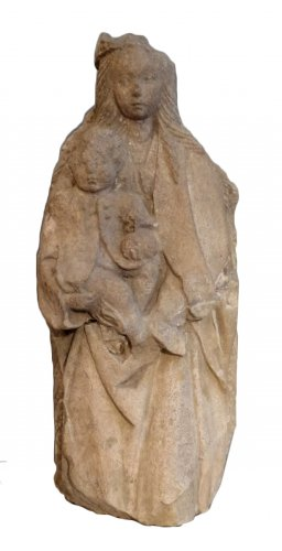 Virgin And Child In Stone 15th Century