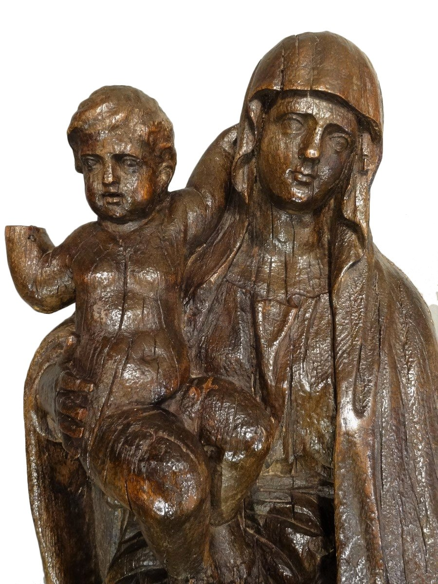 Madonna And Child Carved Wood 17th Century Ref 65110