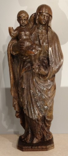 Madonna And Child Carved Wood 17th Century - Sculpture Style Louis XIV