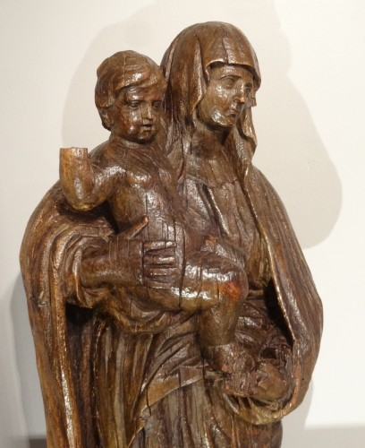 Sculpture  - Madonna And Child Carved Wood 17th Century