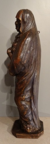 Antiquités - Madonna And Child Carved Wood 17th Century