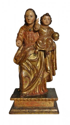 Virgin In carved wood And Polychrome 17th Century