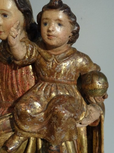 Sculpture  - Virgin In carved wood And Polychrome 17th Century