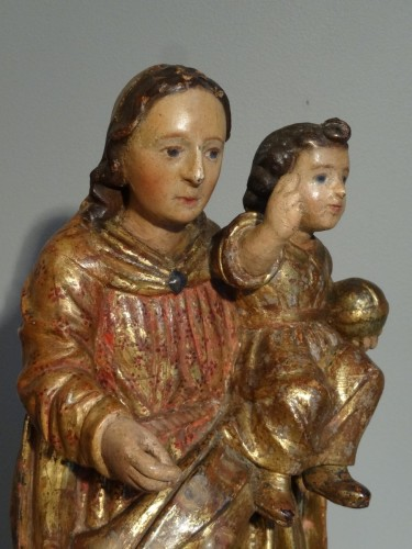 Virgin In carved wood And Polychrome 17th Century -