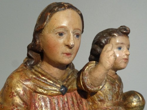 17th century - Virgin In carved wood And Polychrome 17th Century