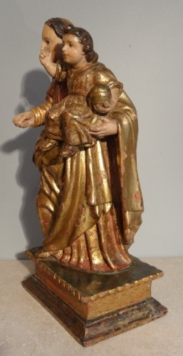 Virgin In carved wood And Polychrome 17th Century - Louis XIV