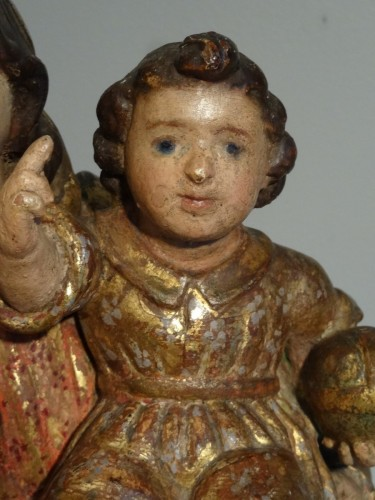 Louis XIV - Virgin In carved wood And Polychrome 17th Century
