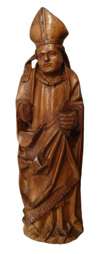 Saint Eloi bishop carved wood circa 1520-1530