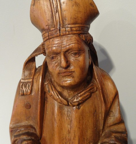 Saint Eloi bishop carved wood circa 1520-1530 - Sculpture Style Renaissance