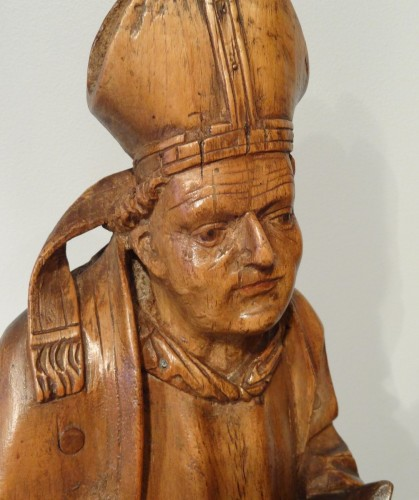 Saint Eloi bishop carved wood circa 1520-1530 - Renaissance