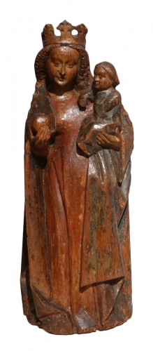 Virgin And Child Carved Wood 15th Century