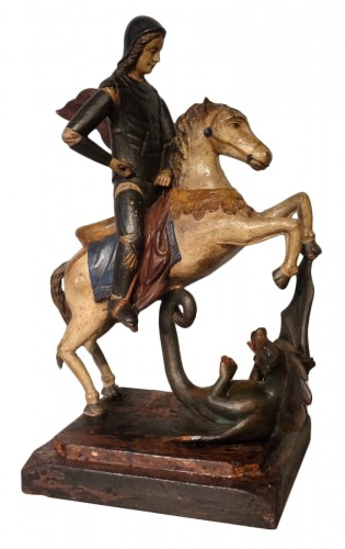Saint Georges Carved Wood And Polychrome 18th Century