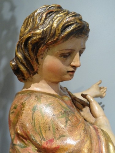Sculpture  - Child carved and polychrome 18th century