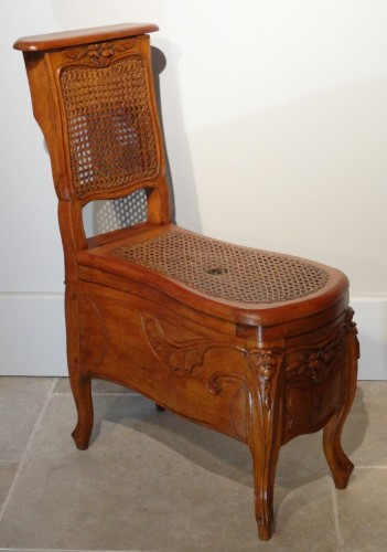 """18th century - Louis XV """"chaise Percée"""" Stamped N.baudin"""